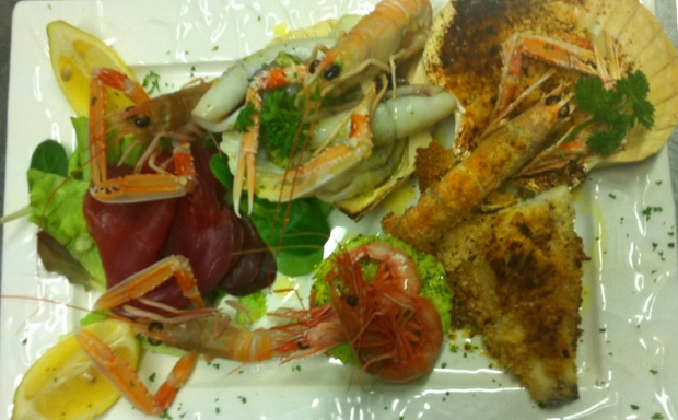 antipasto misto di mare crudo e cotto